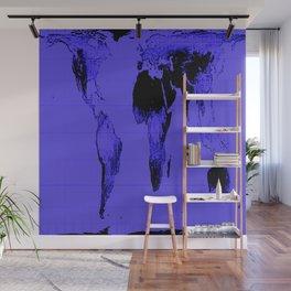 World Map: Gall Peters Indigo Purple Wall Mural