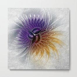 fractal yellow and lilac Metal Print