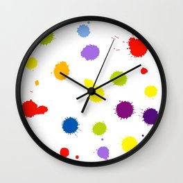 Seamless pattern background with rainbow blots Wall Clock