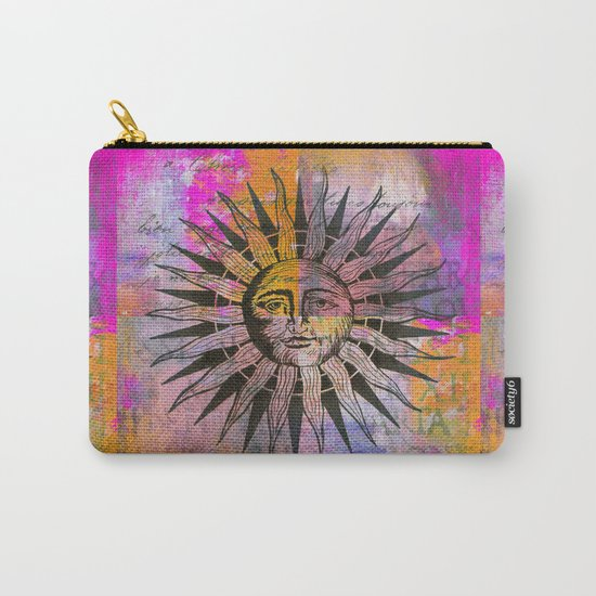 Sun illustration pink orange Carry-All Pouch