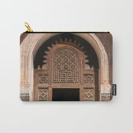 Ornate Archway Door in Marrakech, Morocco - Cream, White, Teal, Turquoise Mosaic Islamic Muslim Temple Architecture Doorway Door Arch Unique Entrance Carry-All Pouch