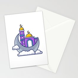 Mosque With Moon Icon Illustration Moslem Building Icon Concept Isolated Flat Cartoon Style Stationery Cards