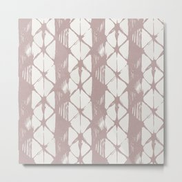 Simply Braided Chevron Clay Pink on Lunar Gray Metal Print