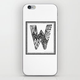 Zentangle W Monogram Alphabet Initials iPhone Skin