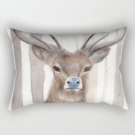 """Watercolor Painting of Picture """"Deer in Winter Forest"""" Rectangular Pillow"""