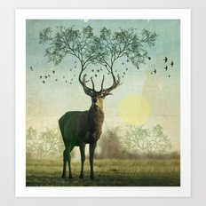 Evergreen Stage Horn Art Print