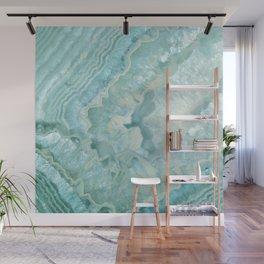 """Aquamarine Pastel and Teal Agate Crystal"" Wall Mural"