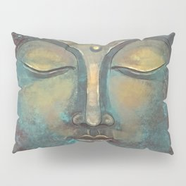 Rusty Golden Copper Buddha Face Watercolor Painting Pillow Sham