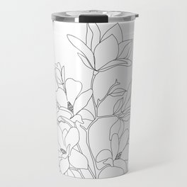 Minimal Line Art Magnolia Flowers Travel Mug