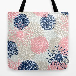 Floral Mixed Blooms, Blush Pink, Navy Blue, Gray, Beige Tote Bag