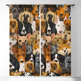Group of Dog Heads Of Various Breeds Pattern Blackout Curtain