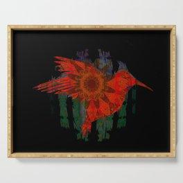 Deepest Bold Red Boho Floral Mandala Hummingbird Print Serving Tray