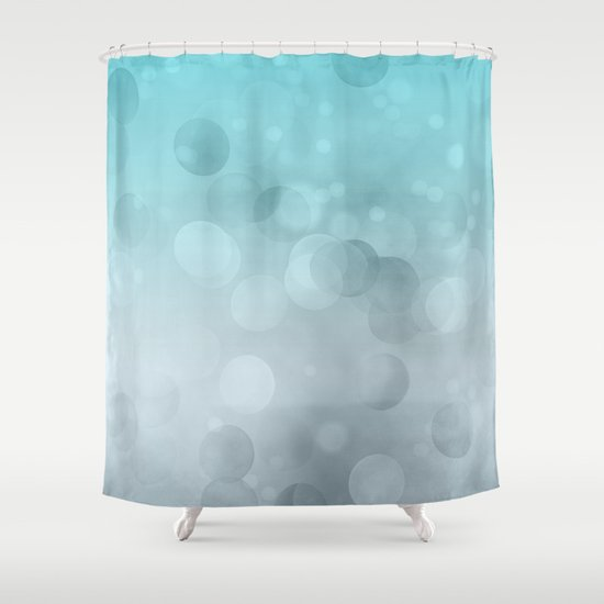 Aqua Turquoise Grey Soft Gradient Bokeh Lights Shower Curtain By LebensARTdes