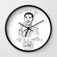 dale cooper Wall Clocks featuring DALE COOPER : THIS PIE IS SO GOOD IT IS A CRIME by Adrianna Ojrzanowska