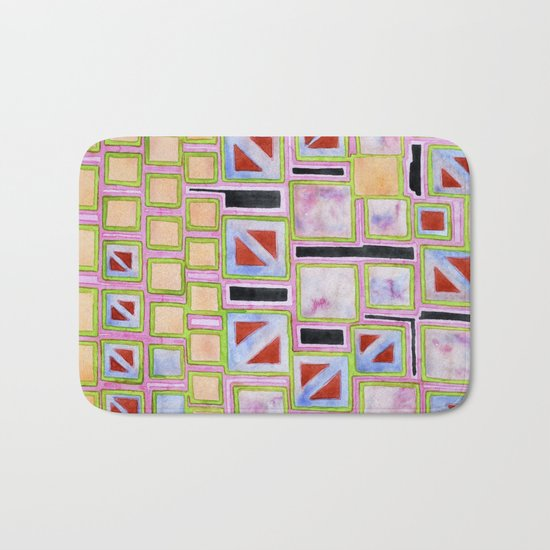 Composition out of Three Kind of Squares Bath Mat