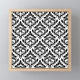 oriantal illustration decorative black seamless graphic pattern floral motifs Framed Mini Art Print