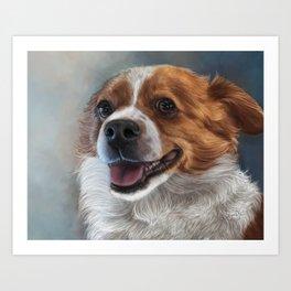 Cardigan Corgi Painting Portrait Art Print