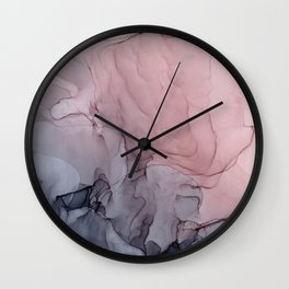 Blush and Gray Flowing Ombre Abstract 1 Wall Clock