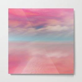 """Rose quartz sky on beach shore"" Metal Print"