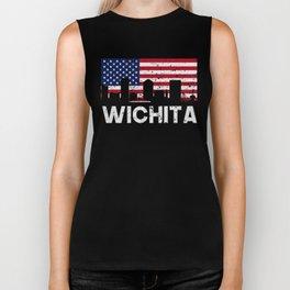 Wichita KS American Flag Skyline Distressed Biker Tank