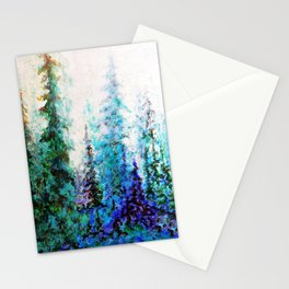 Mountain Landscape Pines In Blue-Greens-Purple Stationery Cards