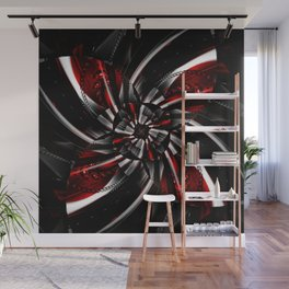 Blossom silver red 1 Wall Mural