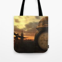 clockwork Tote Bags featuring Clockwork by Chase Matheson
