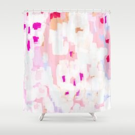 Netta - abstract painting pink pastel bright happy modern home office dorm college decor Shower Curtain
