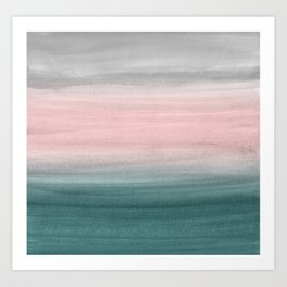 Touching Teal Blush Gray Watercolor Abstract #1 #painting #decor #art #society6 Art Print