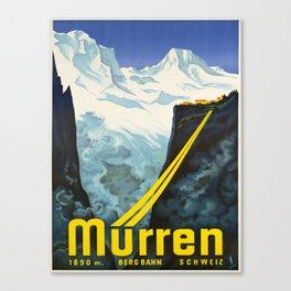 retro vintage murren bergbahn schweiz poster Canvas Print