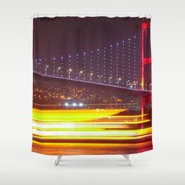 Famous Istanbul Boğaziçi Köprüsü Bosphorus Bridge Magnificent Cityscape Nightlife Ultra HD Shower Curtain