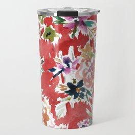 WILD LOVE Bold Red Floral Travel Mug