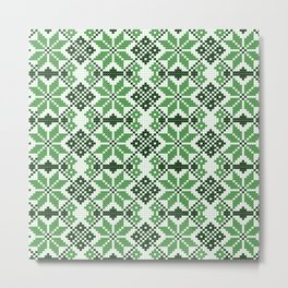 Romanian Traditional Embroidery - Green Metal Print