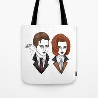 mulder Tote Bags featuring mulder and scully by Bunny Miele