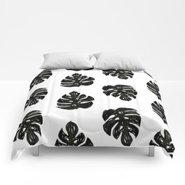 Linocut sketchy monstera leaf black and white tropical pattern print home decor nursery patterns Comforters