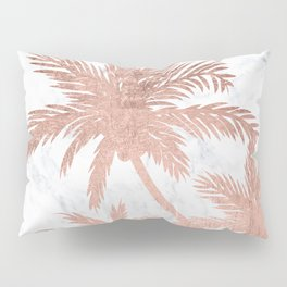 Tropical simple rose gold palm trees white marble Pillow Sham