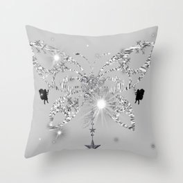 Silver Butterfly Glow Throw Pillow