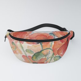 Burnt Orange Salmon Field of Poppies watercolour by CheyAnne Sexton Fanny Pack
