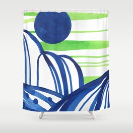 Lime and blue abstract landscape Shower Curtain