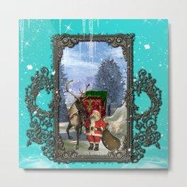 Santa Claus with reindeer Metal Print