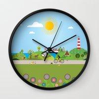 denmark Wall Clocks featuring Landscape of Denmark by Design4u Studio