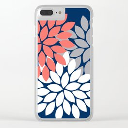 Flower Burst Petals Floral Pattern Navy Coral Gray Clear iPhone Case