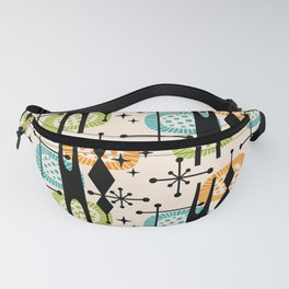 Retro Atomic Mid Century Pattern Orange Green and Turquoise Fanny Pack