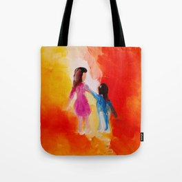 """Two of us"" Original oil finger painting by Monika Toth Tote Bag"