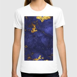 Gold Blue Indigo Malachite Marble T-shirt