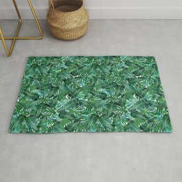 Tropical Palm Tree Leaf Pattern - White BG Rug