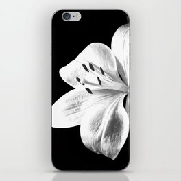 White Lily Black Background iPhone Skin