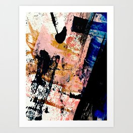 01016 : a bold abstract in pink, orange, blue, and black Art Print