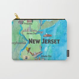 USA New Jersey State Travel Poster Map with Touristic Highlights Carry-All Pouch
