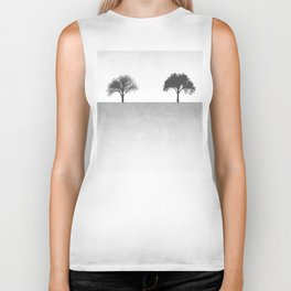 Tree Artwork Grey And Black Landscape Biker Tank